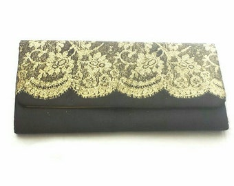 Black and gold glitter lace rectangular clutch