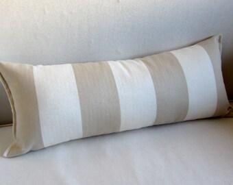 TONE ON TONE beige/cream stripes Cotton 9x25 Bolster/lumbar pillow