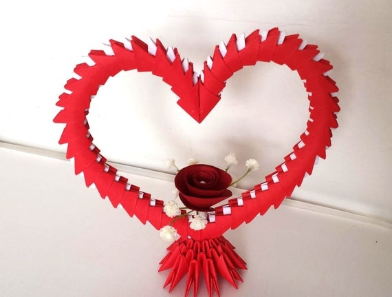 3d origami coeur avec fleurs. Black Bedroom Furniture Sets. Home Design Ideas