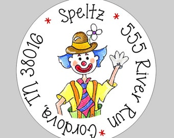 20 Personalized Circus Clown Address Labels