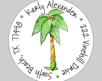 20 Personalized Palm Tree Beach Address Labels