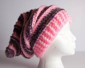 Crochet Hat, Beanie, Slouchy Ski Hat Beanie, Crochet Beanie, Crochet Shaggy Beanie, Shaggy Hat, Adult Textured Ribbed Rasta, Beret