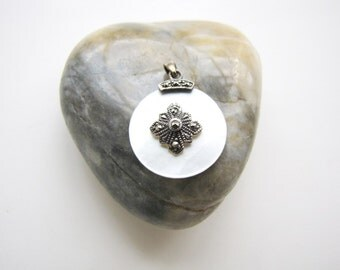 Antique Art Deco Marcasite Pendant Mother of Pearl Pendant 1930's from AllieEtCie