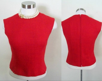 Red Wool Sleeveless Crop Top / Vintage 1950s 1960s Back Zipper Fitted Blouse