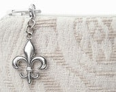 Fleur de lis decorative zipper pull charm for purse embellishment - French country chic fleur de lis metal purse hardware diy