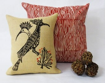 Hand Printed Burlap Pillow with Desert Roadrunner and Desert Landscape