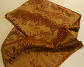 Handmade table runner, rust colored embroidered silk, 16 1/2 by 102 inches.