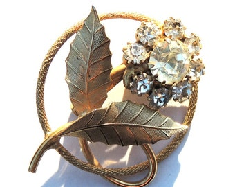 Vintage Rhinestone Pin, Rhinestone Brooch, Flower Pin, Vintage Brooch, Vintage Jewelry