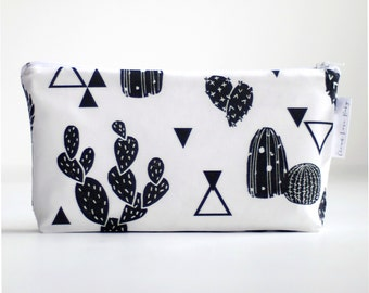 small wet bag. black and white chunky cactus. cosmetic bag