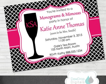 Monograms and Mimosas Bridal Shower Invitation Bachelorette Party Printable Personalized Bachlorette Invite black pink quartrefoil Wedding