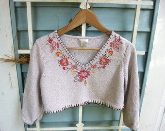 SM - M Beige floral cropped sweater, cropped boho sweater, floral cropped sweater, altered women's sweater, urban chic, indie