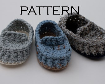 Ribbed Baby Loafer Crochet Pattern - PDF