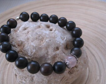 Mens Mala Bracelet, Brown Agate and Rose Quartz Gemstone Beads, Love Stone, Mens jewelry