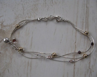Dainty Layered Silver Bracelet with Silver Ball Charm and Pink and Red Crystals