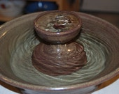 "Cat Fountain, Tabletop Fountain, Foodsafe, Ceramic - 12.25 Inch Diameter -  ""Chestnut Piazza"""