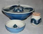 "Cat Fountain Set, Treat Jar, Food Bowl  - 12 Inch Diameter -""Yucatan"""