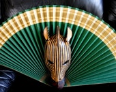Vintage African Hand Carved Wooden Zebra Mask Wall Hanging