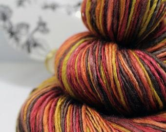 Handspun Yarn Gently Thick and Thin DK Single Merino and Silk 50/50 'Autumn Flame'