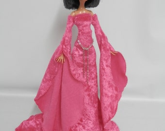 Deep Pink Medieval Gown Designed for Your Monster High Doll-SALE