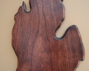 Cherry Wood Michigan Plaque for European Deer Head Mount, Michigan Plaque, European Mount, Antler Mount, Hunting, VERY LIMITED QUANTITY!