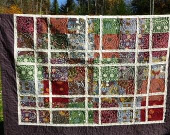 Australian fabric Quilt Sofa throw or large wall hanging. Vivid aboriginal designs