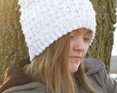 It Girl Slouch, crochet slouch, ribbed slouch, ribbons slouch, crochet hat, crochet beanie,
