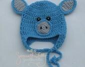Pig Hat, crochet pig hat, crochet hat, little piggy hat, crochet piggy, farm animal piggy hat