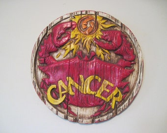 Cancer, June 22 to July 22 - vintage 1970s wall plaque, retro art, astrological sun sign, occult, horoscope, the crab, astrology, new age