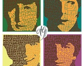 Psychedelic Beatles Hand-illustrated Type 12'' x12'' Print Collection (4 prints)