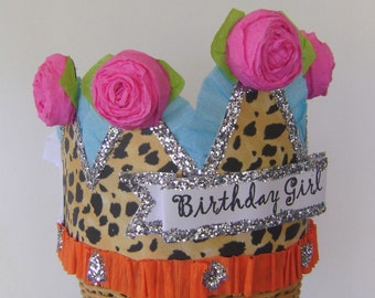 Birthday Party Crown, Birthday Party Hat, Cheetah birthday hat, leopard birthday hat, girl birthday hat