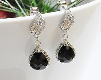 Black Onyx crystal quartz drop with white gold luster CZ Stud post earrings,Bridesmaid,Wedding Jewelry, Cocktail jewelry, Prom