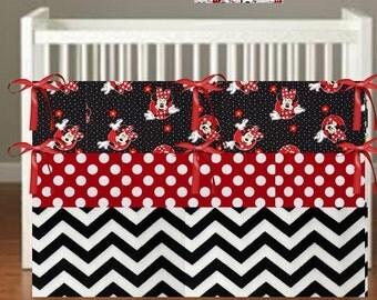 Minnie Mouse Crib Bedding - Nursery Decor 3 Piece Set bumper, skirt, sheet, - Choose Your fabrics