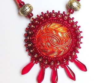Beaded pendant of Bohemian glass - Magical red necklace embroidered beaded