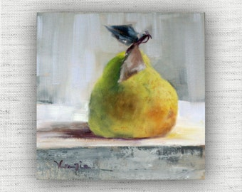 Pear Painting Print of Still Life Oil Painting Home Decor Wall Art - Unique Kitchen Food Room Decor, Cottage Style Dining Room Art Print
