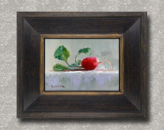 Oil Painting Still Life with Radish - Original Painting Canvas Art by Carrie Venezia - Red, Gray, Green