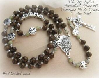 Irish Connemara Marble & Gemstone Personalized Baptism Boy Rosary with Guardian Angel