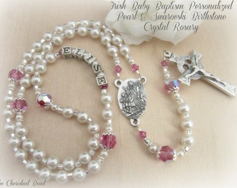Irish Baby Birthstone Swarovski Crystal & Pearl Personalized Baptism Guardian Angel Rosary