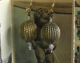 upcycled large brass textured metal ball earrings~statement earrings~time for tea~ooak~drop earrings