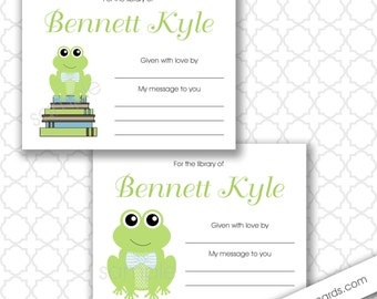 Frog Baby Shower book plate Labels / bring a book baby shower / build a library baby shower, boy baby shower bookplate stickers