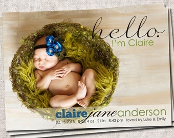 Birth announcement, baby boy announcement, baby girl announcement, baby announcement, modern birth announcement, printable (Hello)