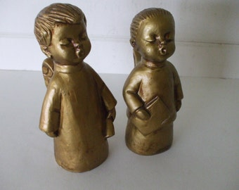 Gold Angel Figurines - Choir Children  - Dickson Co. - Made in Japan - Vintage - Girl and Boy - Holiday Decor - Home Decor - Gifts - #600