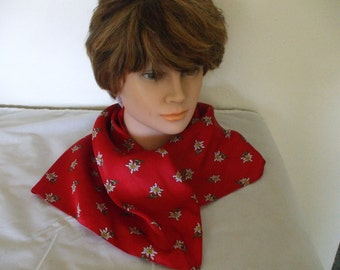 Italian Bright Red with Daisies Scarf -100% Polyester - Hand Rolled -  23 X 23 - Gifts #792