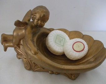 Antique Gold Cherub, Sea Shell, Soap Dish - Hollywood Regency - Vanity - Jewelry - Romantic - Large - Gifts - #1037
