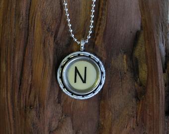The Letter N Vintage Typewriter Key Pendant Necklace