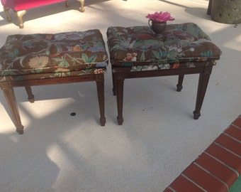 "Pair of HOLLYWOOD REGENCY BENCHES / 22"" long x 17"" wide Pair of Benches Palm Beach Chic Cottage Style / On Sale at Retro Daisy Girl"