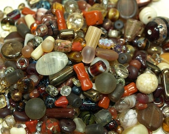 Marvelous Mixes! Grab Bag of New and Vintage Brown and Tan Glass Beads! MIX4000