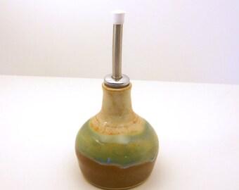 Small Oil Dispenser - Rustic Cream - Green- brown