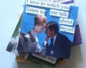 Tile coaster set.  1950s images and humorous conversation. Conversation starter. For women.
