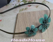 1pcs (HB-02VB) Verdigris Blue Brass With Flower HeadBand,Nickel Free.