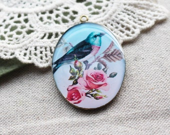 1 pcs (30x40mm) Beautiful Antique Brass Glossy Pendant/Charm - Vintage Bird (RS-07)